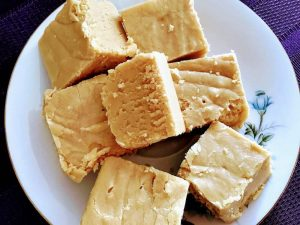Peanut butter fudge on a plate
